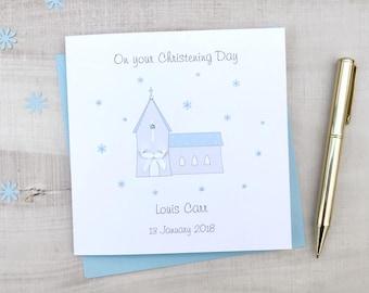 Beautiful Christening Card - Church Christening Card - Personalised Christening Card -  Boys Christening Card - Girls Christening Card