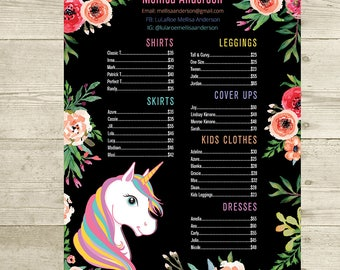 PRINTABLE Price List Poster, Skirts Dresses Shirts and Leggings Price List Sign, Unicorn and Flowers, Digital File LLR031