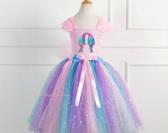Trolls Satin and Chenille Tutu Dress. Trolls Costume. Poppy Handmade Dress. Trolls Dress. Birthday Party Dress. Halloween Costume
