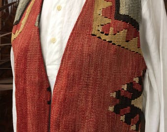 Vintage Turkish vest~ tapestry Vest with silver buttons~ Tex-Mex~ western style~size Medium