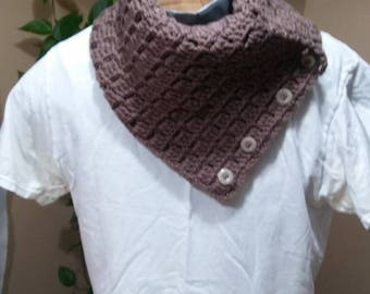 Crochet brown Cowl neck with buttons