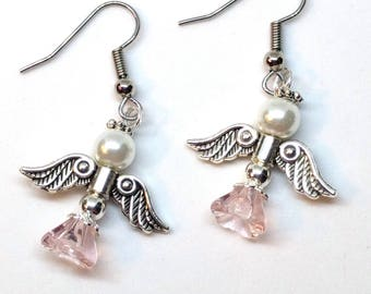 Angel Earrings, Guardian Angel, Pink, Mother's Day Gift, Graduation Gift, Christmas Earrings, Birthday Gift, Teen Gift, Confirmation Gift