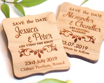Ivy Wooden Save the Date Magnet, Vintage Wooden save the date, custom wedding magnet, Rustic Wedding Invites, Rustic Wooden Wedding Magnet