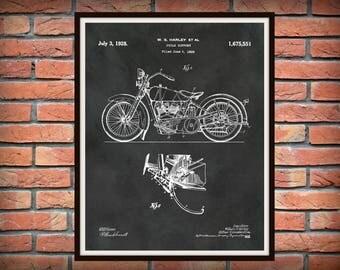 1928 Harley Patent Print Vers #2 Harley Motorcycle Print - Harley Davidson Poster - Bike - Motor Bike - Hells Angels - Harley Hog