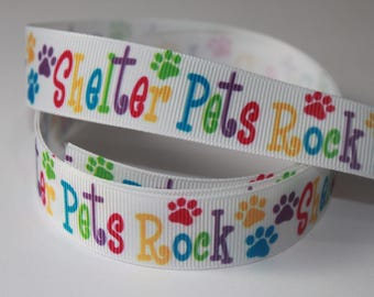 "7/8"" inch Shelter Pets Rock on White Colorful Letters - Adopt me - Dogs -  Printed Grosgrain Ribbon for Hair Bow TheFabFind"