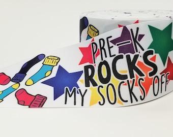 "3"" inch Pre-k Rocks my Socks off - Pre Kindergarten - Pre K Kinder Back to School Printed Grosgrain Ribbon for 3 inch Cheer Hair Bow"