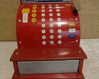 Vintage tin toy cashier register
