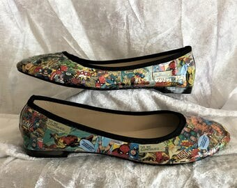 Marvel Shoes - Marvel Comics -Decoupage shoes - Hand Customised -Geek Shoes - Cosplay Shoes - Comic Book Shoes - Marvel Cosplay
