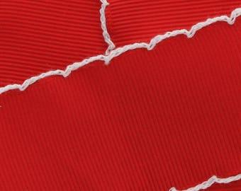 "1.5"" Red/White Moonstitch Grosgrain Ribbon  - Choose 5yd or 10yd"
