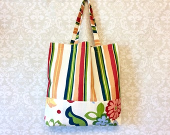 Market Bag, Market Tote, Reuseable Grocery Bag, Tote Bag, Stripes and Floral by 8th Day Encore