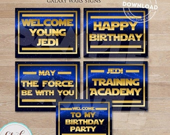 50% OFF SALE Galaxy wars SIGNS, Star Wars Sing, Birthday party decorations, Party supplies, Birthday supplies, Party decorations, Instant Do