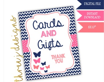 Butterfly Baby Shower Gift and Card Table Sign - INSTANT DOWNLOAD - Navy Blue, Pink and Coral - Digital File - J003