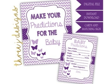 Butterfly Baby Shower Predictions for Baby Cards and Sign - INSTANT DOWNLOAD - Plum and Lavender - Digital File - J004