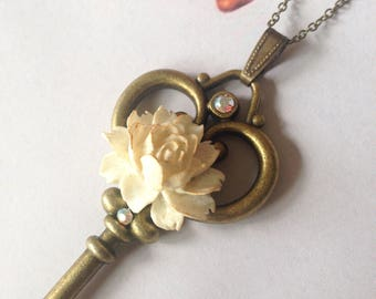 White rose key pendant