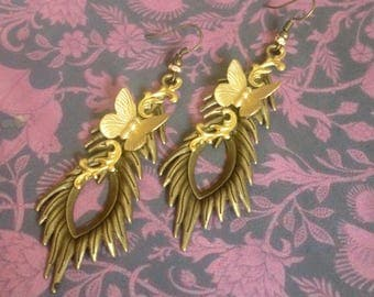Earrings Peacock feather and Golden Butterfly