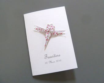 Custom birthstone - baptism - Dragonfly - liberty - flower girl pink origami