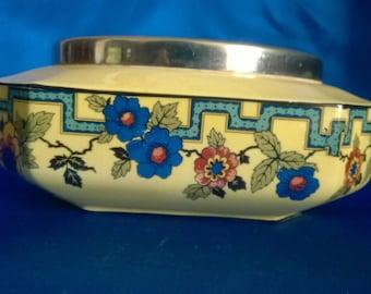 """Art Nouveau Flosmaron """"Avon"""" Fruit Bowl with Silver Plated Rim"""