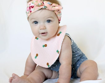 Baby Girl Bib - Adorable, Handmade, Absorbent, and Summery: Pink Pineapple Party