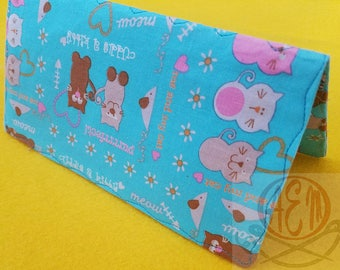 Tossed Kitties Kitty Love Checkbook Cover Aqua and Pink