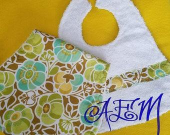 Floral Bib and Matching Burp Cloth Handmade