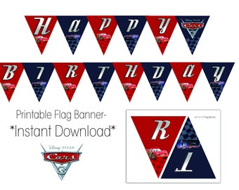 Cars 3 Happy Birthday Printable Flag Banner- Instant Download