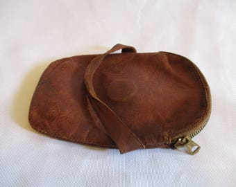 Vintage Leather material zippered coin purse with strap