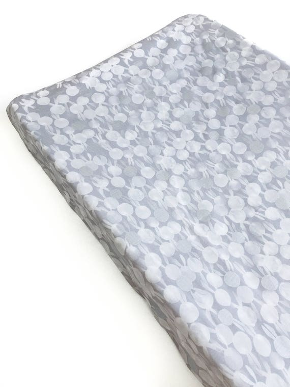 Changing Pad Cover - Sleep Tight BunBuns in Grey Pearlescent - MADE-to-ORDER - bunny changing pad, grey silver rabbit changing pad