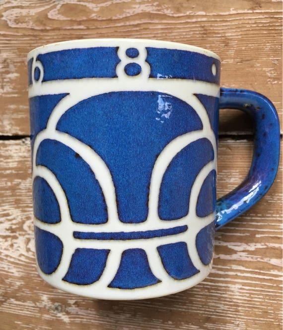 Vintage Royal Copenhagen 1968 large mug Ellen Malmer design with silver 925 disc to underside.