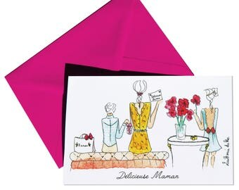 Double mother's day, delicious MOM card, envelope Fuchsia.
