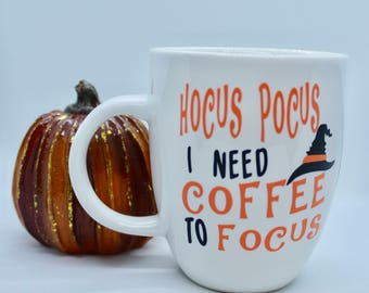 Hocus Pocus I need coffee to focus mug / hocus pocus mug / halloween mug / fall mug / cute fall coffee mugs /mugs and saying /
