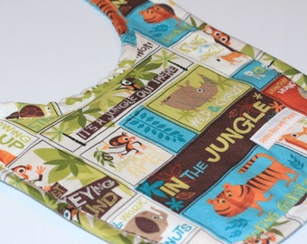 Handmade Baby Bib Jungle Animals, giraffe, hippo, lion, tiger, newborn gift, baby shower gift, baby gift, gifts under 10, mum to be