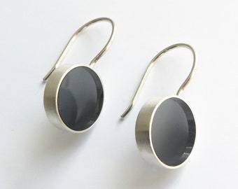 Round Earrings Silver Disc Grey