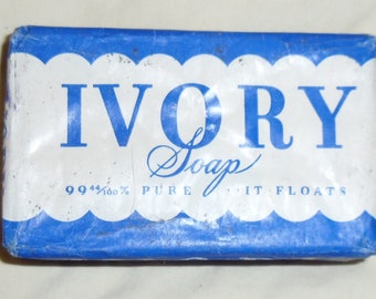 Vintage Large Ivory Soap Bar Never Opened with Ad on Back Pretty Soft! 1940s