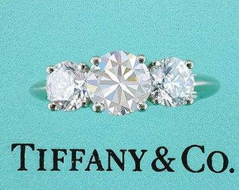 Tiffany & Co Engagement Ring 3 Stone Round Brilliant Diamonds 2.12ctw G-VVS1