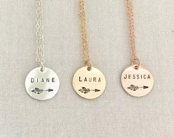 Personalized Rose Gold Arrow Necklace, Graduation Necklace, Name Necklace, Tribe Necklace, Boho Necklace, Best Friend Gift, Sisters Necklace