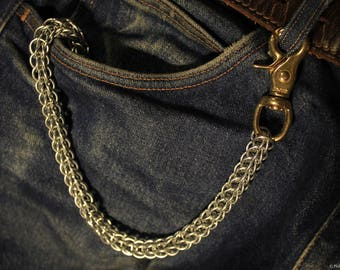 Chainmail Wallet Chain with Heavy Duty Brass Swivels