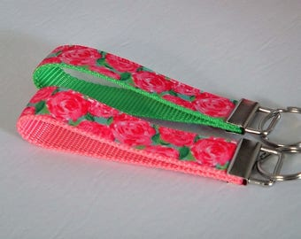 Key Fob - Keychain - Pink Floral Key Fob-2 Webbing Colors Choices-Matches the Pink Floral Dog Collar-Lily Pulitzer Inspired First Impression