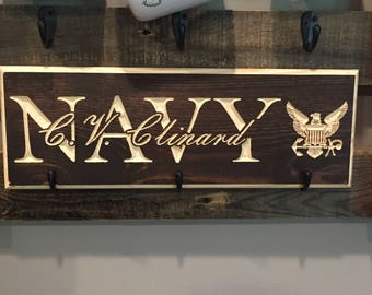 Personalized Wood Sign Military Family Name Sign Anniversary Established Wood Carving Last Name