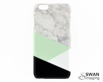 Geometric Black White & Mint Split Marble iPhone Case - iPhone X, iPhone 8, iPhone 8 Plus, iPhone 7, 7 Plus, SE, 5/5S, 5C, 6/6S, 6/6S Plus