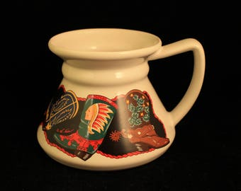 """Vintage """"Two Steppin"""" Cowboy Boot No Spill Travel Mug/Cup by Potpourri Press"""