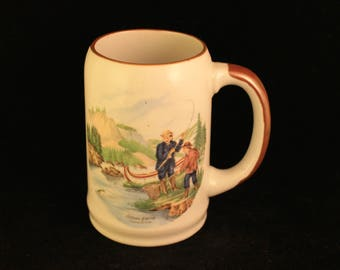Vintage Currier and Ives Salmon Fishing Stein Mug