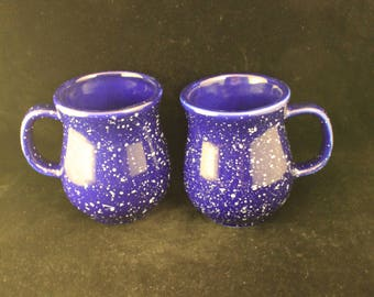 Pair Vintage Blue with White Speckles Pottery Mugs Rustic Primitive