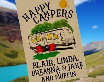 Happy Campers Personalized Travel Trailer Garden Flag or Wall Hanging, Campsite Flag, RV Gift, RV Camp Sign, Stand not included