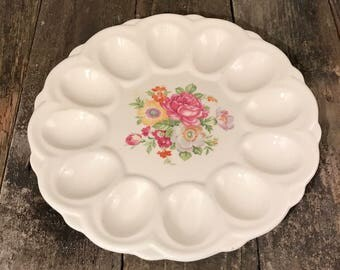 E & R American Artware Floral Egg Platter Easter Deviled Eggs