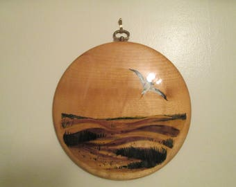Vintage Hand Painted Myrtlewood Wall Art Plaque Unique Painting From Oregon Birds Seascape Beach Scene