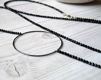 Long Spinel necklace. Female black spinel necklace. Black gemstones necklace. Free shipping. Gifts for her