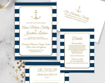 Nautical Wedding Invitation Set / Nautical Stripes / Navy Stripes, Gold Anchor / Navy and Gold ▷ Printed Wedding Invitations {or} Printable