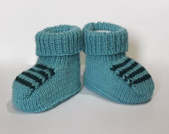 Blue Baby Booties, Striped Booties, Woollen Booties, Baby Boy Booties, Hand Knit Booties, New Baby Gift, Blue Crib Shoes, Blue Baby Slippers