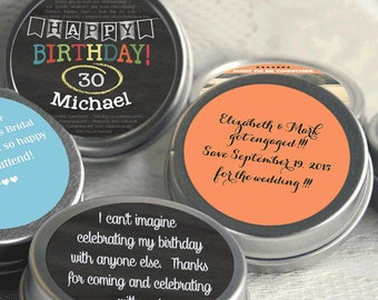 30th Birthday Mint Tin Party Favors - 30 Birthday Party Supplies -Personalized Birthday Party Favors - Birthday Mints - Birthday Favor Ideas