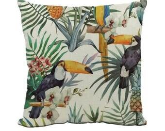 Toucan Toucans Parrot Flower Bird Tropical Bold Pillow Cushion Cover Linen Cotton